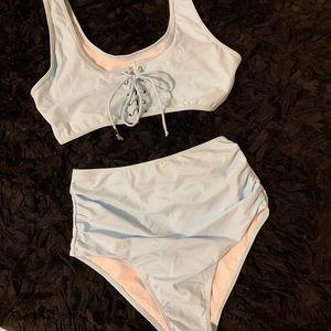 Other - 👙Baby blue plus size high waisted bikini